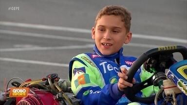 Kart: Lucas, de oito anos, é acelerado. Já é campeão brasileiro da modalidade - Pernambucano treina em João Pessoa