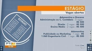 Estudantes podem concorrer a vagas de estágio no Oeste Paulista - Confira as oportunidades disponíveis nesta semana.