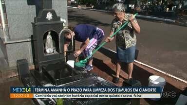Limpeza de túmulos para o Dia de Finados em Cianorte termina amanhã - Em Paranavaí, a limpeza de túmulos só pode ser feita até hoje.