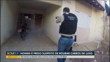 Polícia Civil prende homem em Cianorte suspeito de roubar carros de luxo - Criminosos usavam veículos para contrabando e tráfico de drogas.