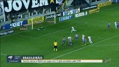 Santos vence o Bahia em jogo com dois gols anulados pelo VAR - Em partida marcada pelo uso do VAR, Peixe venceu o Bahia por 1 a 0.