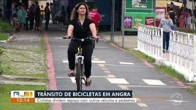 Ciclistas encontram dificuldades para trafegar em Angra dos Reis - Prefeitura tem feito trabalhos de conscientização para tentar organizar o transtorno.
