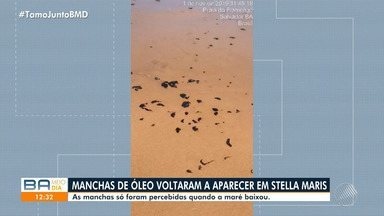 Manchas de óleo retornam à Stella Maris e só foram percebidas quando a maré baixou - Bahia foi o último estado do nordeste atingido pelo problema ambiental.