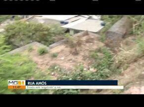 Equipe da Inter TV retorna ao Bairro Canaãzinho, em Ipatinga, pela 10ª vez - Uma cratera se formou na Rua Amós após as chuvas.