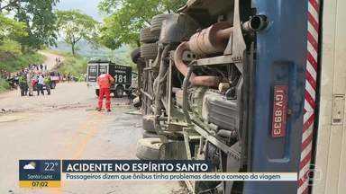 Dois acidentes com ônibus de turismo levando mineiros acontecem em menos de uma semana - Batida foi no último sábado no Espírito Santo e deixou 4 pessoas mortas. Ônibus será encaminhado pra perícia mecânica, laudo deve sair em 30 dias.