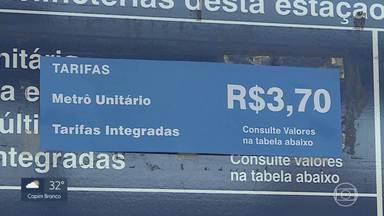 Metrô de BH: 1º dia útil depois de mais um reajuste da tarifa - Valor do bilhete passou de R$3,40 para R$3,70. Outros reajustes estão programados até março de 2020.
