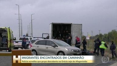 Polícia encontra 41 imigrantes dentro de caminhão na Grécia - Policiais estavam fazendo operação de rotina numa estrada no norte do país. As autoridades acreditam que o grupo seja do Afeganistão e estava tentando entrar ilegalmente na Europa.
