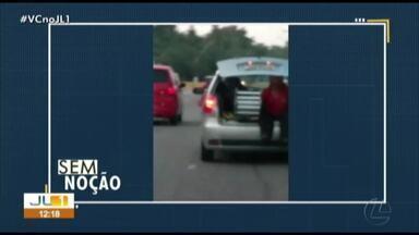 Sem Noção: Uma pessoa é transportada no porta-mala de um carro em Belém - Sem Noção: Uma pessoa é transportada no porta-mala de um carro em Belém