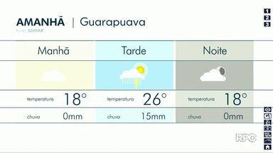 Chuva é prevista para terça-feira em Guarapuava - Pancadas de chuvas estão previstas para a tarde na cidade.