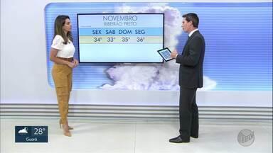 Veja a previsão do tempo para esta terça-feira (5) na região de Ribeirão Preto - Há previsão de chuva, mas o volume é baixo.