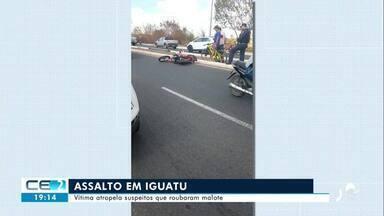 Vítima atropela suspeitos depois de ter malote com dinheiro roubado - Confira mais notícias em g1.globo.com/ce