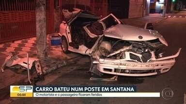 Carro bate em poste na Zona Norte de São Paulo - Acidente aconteceu na madrugada desta terça-feira (5).