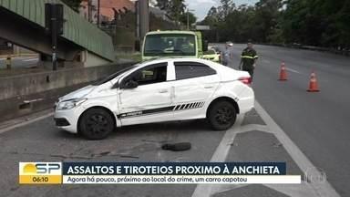 Jovem é morto a tiros após diversos assaltos na manhã desta terça-feira (5) - Garoto de 16 anos morreu próximo do km 11 da Rodovia Anchieta.