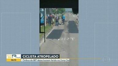 Ciclista é atropelado na Zona Oeste - A vítima foi atingida por um ônibus do BRT, que seguia da Estação Pingo D'água para o Magarça.