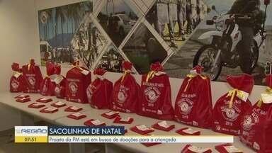 """Projeto """"Sacolinhas de Natal"""", da Polícia Militar, irá atender 1,2 mil crianças - As inscrições para doadores de brinquedos estão abertas."""