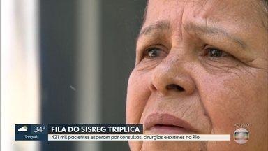 Triplica o número de pacientes na fila do SISREG - 421 mil pessoas esperam por consultas, cirurgias e exames no Rio
