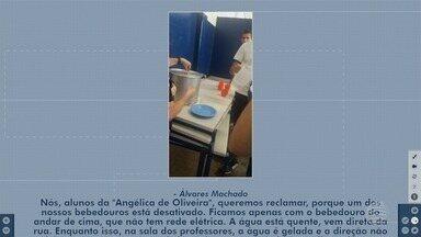 Alunos reclamam de falta de água gelada em escola de Álvares Machado - Vice-diretora disse que bebedouro quebrou e terão de comprar outro.