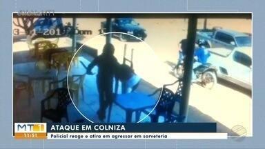 Policial reage e atira em agressor em sorveteria - Policial reage e atira em agressor em sorveteria.