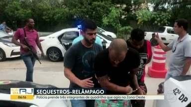 Polícia prende integrantes de quadrilha especializada em sequestro-relâmpago na Zona Oeste - A Polícia Civil prendeu três homens de uma quadrilha que fazia sequestros-relâmpago na Barra de Tijuca e Recreio. A prisão aconteceu nesta terça-feira (5).