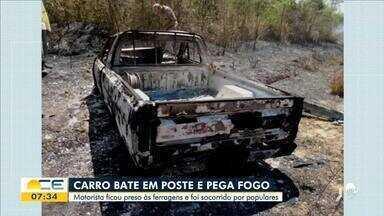 Carro bate em poste e pega fogo em Ubajara - Saiba mais em g1.com.br/ce