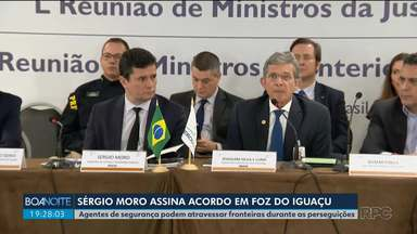 Ministro Sérgio Moro assina decreto em Foz do Iguaçu - Agentes de segurança podem atravessar fronteiras durante as perseguições