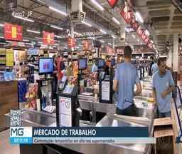 Supermercados em Juiz de Fora realizam contratações para vendas de final de ano - Setor é um dos que mais faz contratações temporárias pra o período. Dedicação é a palavra de ordem para se firmar no mercado de trabalho.