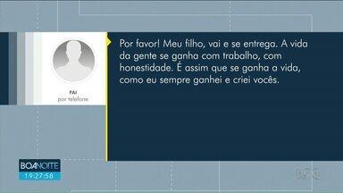 Pai convence filho que fez assalto a se entregar, em Londrina - A mensagem foi enviada por celular depois que o pai reconheceu o filho em uma imagem do assalto.