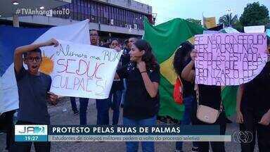 Estudantes protestam contra mudança na forma de ingresso ao Colégio Militar em Palmas - Estudantes protestam contra mudança na forma de ingresso ao Colégio Militar em Palmas