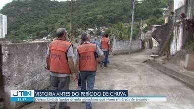 Defesa Civil de Santos orienta e cadastra famílias que vivem nas encostas - Período de chuvas está chegando e quem mora em áreas de risco precisa ficar atento.
