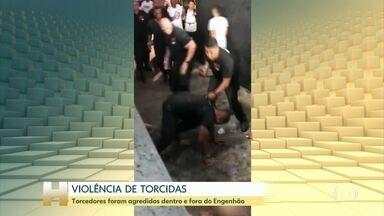 Torcedores são agredidos dentro e fora do Engenhão na noite desta quinta (7), no Rio - Segundo a Polícia, dois agressores foram identificados e autuados em flagrante pelos crimes de tentativa de homicídio e associação criminosa. Outros treze investigados ainda estão no presídio de Benfica. A polícia está analisando as imagens.