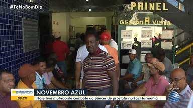 Mutirão em combate ao câncer de próstata oferece consultas e exames gratuitos, em Piatã - Ação começou às 7h deste sábado (9), no Lar Harmonia, e marca o mês de Novembro Azul, campanha que atua em combate ao câncer de próstata.