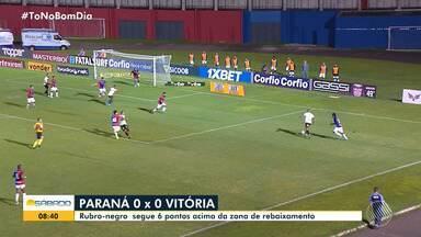 Vitória empata com o Paraná na sexta-feira e abre 6 pontos acima da zona de rebaixamento - Partida aconteceu às 19h15, na Vila Capanema. Resultado foi de 0 a 0.
