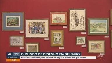 Exposição reúne desenhos de cartões postais de Florianópolis - Exposição reúne desenhos de cartões postais de Florianópolis