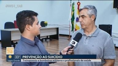 Bombeiros e profissionais da saúde de Uberlândia fazem ação de prevenção ao suicídio - Durante o curso, eles aperfeiçoaram técnicas de atendimentos e comportamento em situações difíceis, visando resguardar e proteger a vida humana.
