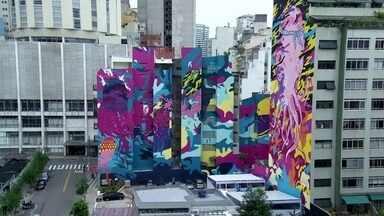Fachadas coloridas dão novo visual ao bairro da República - Seis de 16 painéis já foram pintados e a ideia é que tudo fique pronto em fevereiro de 2020. Públicos de diversas tribos se encontram no Centro Cultural São Paulo.