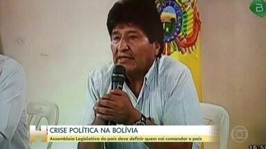 Assembleia Legislativa da Bolívia deve definir quem vai comandar o país - Um dia depois da renúncia do presidente Evo Morales, do vice-presidente e dos presidentes da Câmara e do Senado, a Bolívia enfrenta um vácuo de poder. A Assembleia Legislativa deve se reunir nesta segunda (11) para definir quem vai comandar o país.