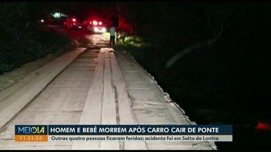 Homem e bebê morrem após carro cair em ponte, em Salto do Lontra - Outras quatro pessoas ficaram feridas.