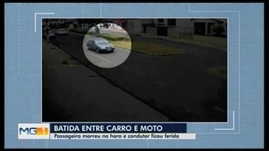 Mulher morre em acidente entre carro e moto em Araxá - Batida foi neste domingo (10), no Centro. Ela estava como passageira da moto e o condutor, de 27 anos, teve ferimentos leves. Câmeras de segurança registraram o momento da batida.