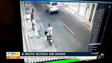 Morador esquece chave na ignição e dupla leva motocicleta em Juazeiro do Norte - Saiba mais no g1.com/ce