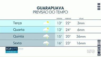 Pancadas de chuva estão previstas nesta terça-feira em Guarapuava - O sol pode aparecer de manhã entre muitas nuvens.