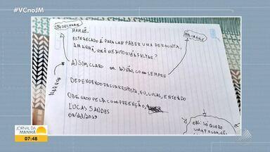 Garoto de 5 anos escreve carta para a mãe pedindo para filar aula em Vitória da Conquisa - Confira.