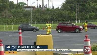 Movimento é intenso na Freeway e pedágio de Gravataí já tem filas - Assista ao vídeo.
