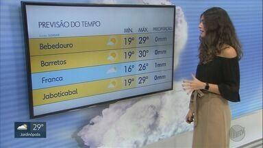 Confira a previsão do tempo para este final de semana na região de Ribeirão Preto - Temperatura pode chegar a 31°C.