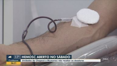 Hemosc estará recebendo doadores de sangue no sábado em Chapecó e Blumenau - Hemosc estará recebendo doadores de sangue no sábado em Chapecó e Blumenau