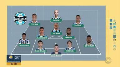 Confira a provável escalação do Grêmio para a partida contra o Palmeiras - Assista ao vídeo.