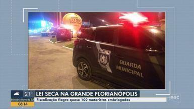 Quase 100 motoristas são flagrados dirigindo sob efeito de álcool em Florianópolis - Quase 100 motoristas são flagrados dirigindo sob efeito de álcool em Florianópolis