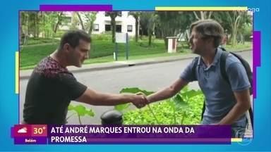 André Marques e o diretor do 'Encontro' apostaram raspar a cabeça caso Flamengo vencesse - Confira o resultado da brincadeira