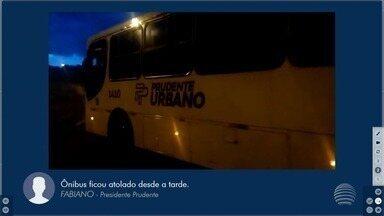 Ônibus fica atolado no bairro Terras de Imoplan - Usuários desistiram de utilizar o transporte coletivo.