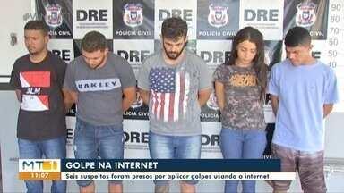Seis pessoas presas suspeitas de aplicarem golpe pela internet - Seis pessoas presas suspeitas de aplicarem golpe pela internet.