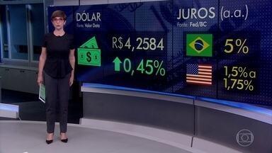 Dólar fecha valendo R$ 4,26 e bate novo recorde - Na economia, a revisão do crescimento do PIB dos Estados Unidos foi mais um fator a alavancar o dólar no Brasil.
